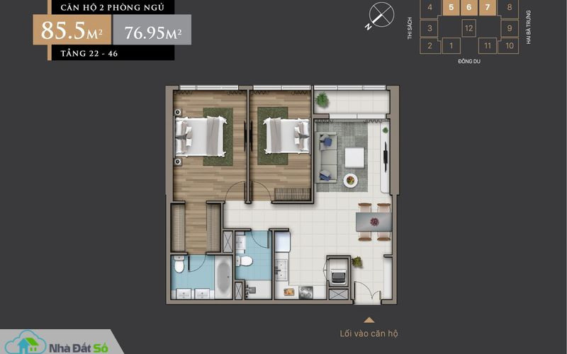 Mặt bằng căn hộ 2 Phòng Ngủ (85.5 m2) từ tầng 22 – 46