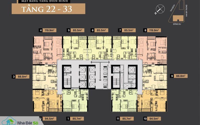 Mặt bằng tầng điển hình từ tầng 22 – 23