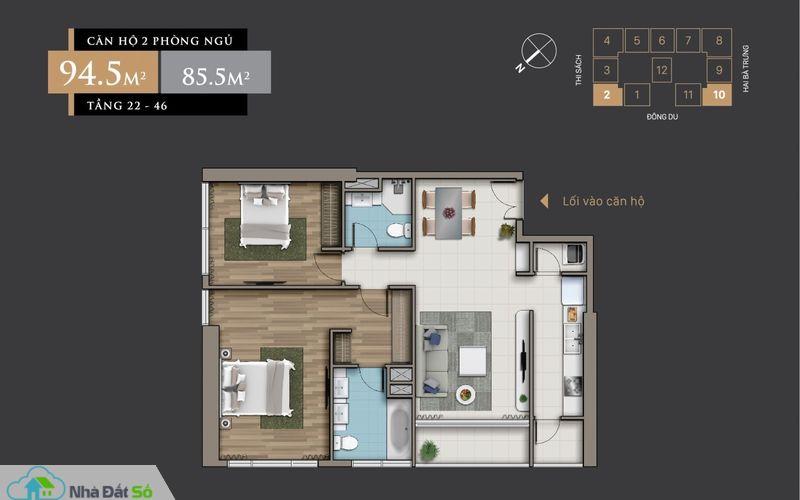 Mặt bằng căn hộ 2 Phòng Ngủ (94.5 m2) từ tầng 22 – 46